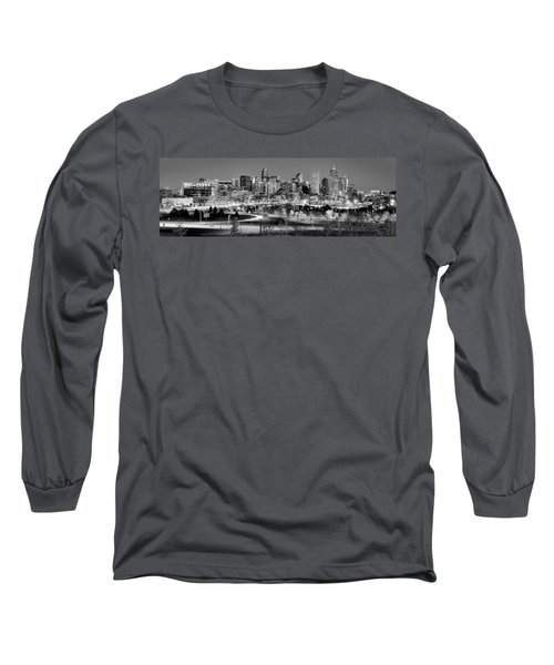 Long Sleeve T-Shirt featuring the photograph Denver Skyline At Dusk Evening Bw Black And White Evening Panorama Broncos Colorado  by Jon Holiday