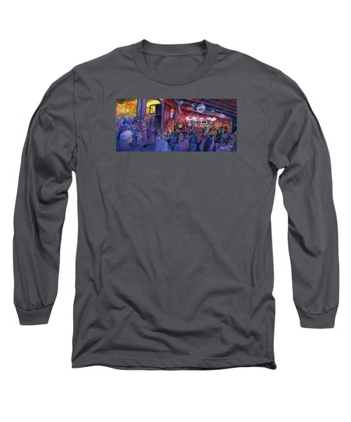 Long Sleeve T-Shirt featuring the painting Dewey Paul Band At The Goat by David Sockrider