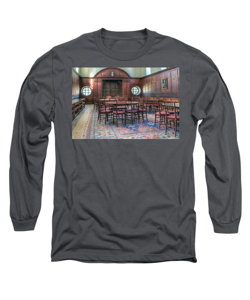 Long Sleeve T-Shirt featuring the photograph Dining Hall Wren Building by Jerry Gammon