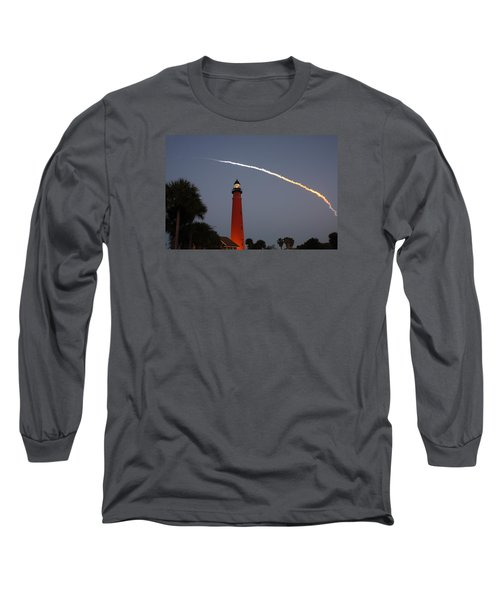Discovery Booster Separation Over Ponce Inlet Lighthouse Long Sleeve T-Shirt by Paul Rebmann