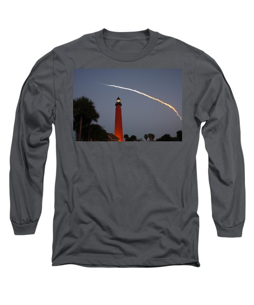Discovery Booster Separation Over Ponce Inlet Lighthouse Long Sleeve T-Shirt