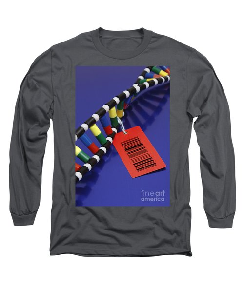 Dna Double Helix With Barcode Long Sleeve T-Shirt