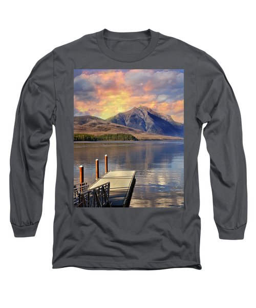 Long Sleeve T-Shirt featuring the photograph Dock On Lake Mcdonald by Marty Koch