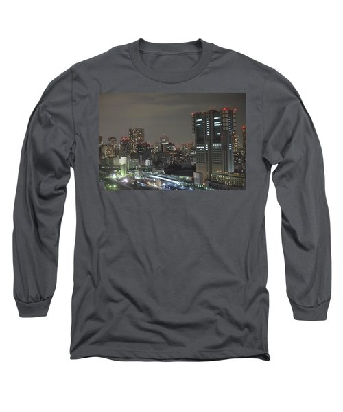 Docomo Tower Over Shinagawa Station And Tokyo Skyline At Night Long Sleeve T-Shirt