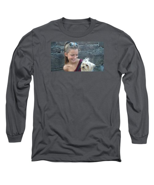 Long Sleeve T-Shirt featuring the photograph Dog And True Friendship 4 by Teo SITCHET-KANDA
