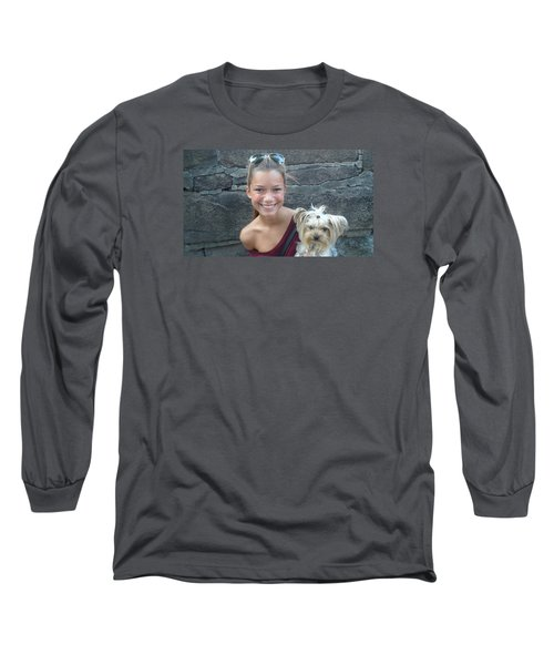 Long Sleeve T-Shirt featuring the photograph Dog And True Friendship 5 by Teo SITCHET-KANDA