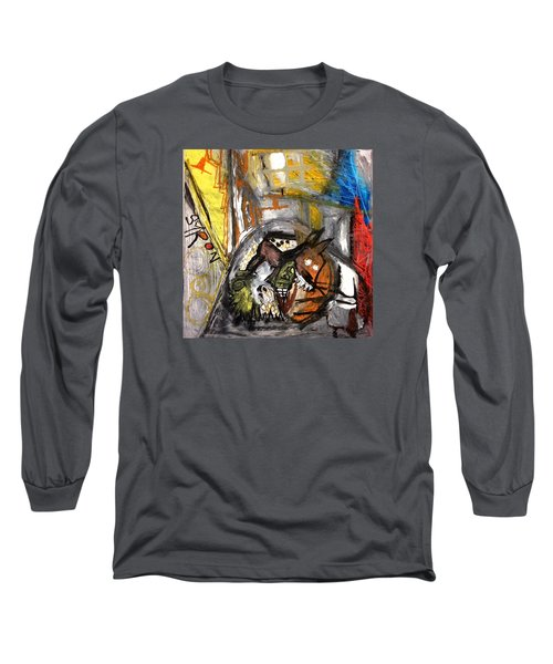 Long Sleeve T-Shirt featuring the drawing Dogs Dinner by Helen Syron