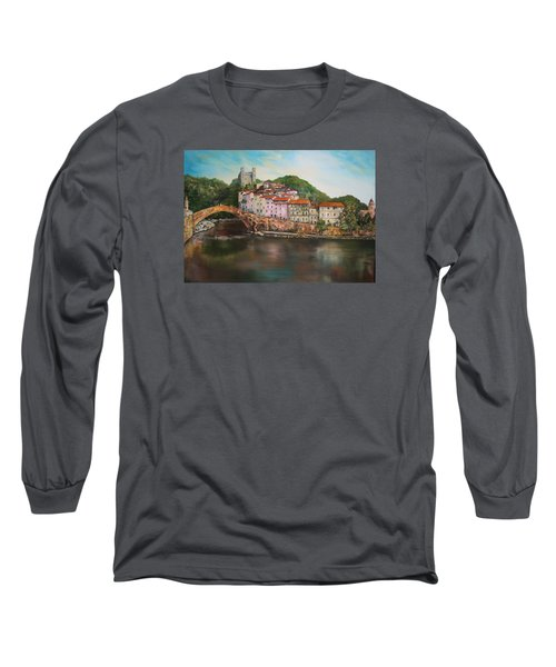 Long Sleeve T-Shirt featuring the painting Dolceacqua Italy by Jean Walker