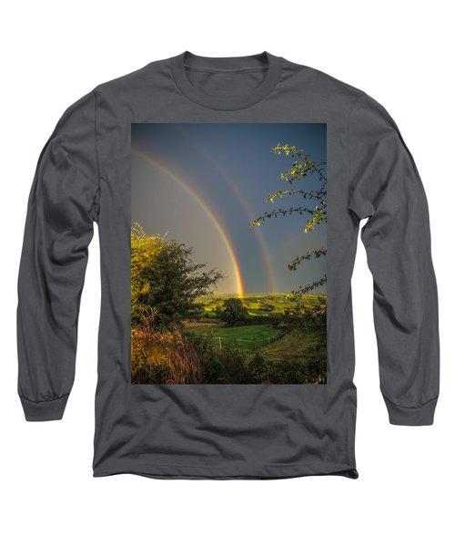 Double Rainbow Over County Clare Long Sleeve T-Shirt