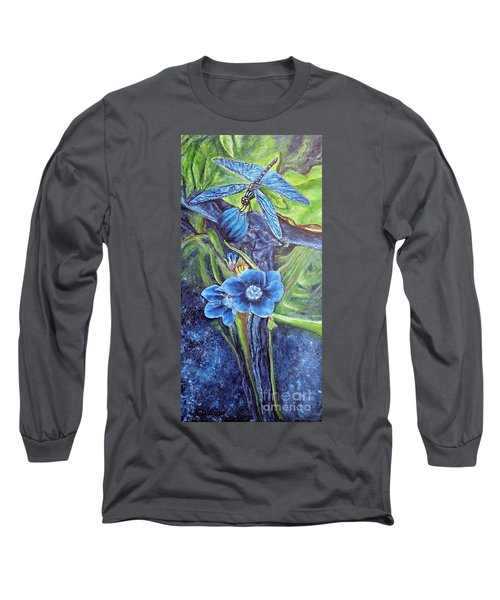 Dragonfly Hunt For Food In The Flowerhead Long Sleeve T-Shirt by Kimberlee Baxter