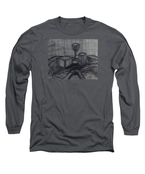 Long Sleeve T-Shirt featuring the drawing Drinks by Erika Chamberlin