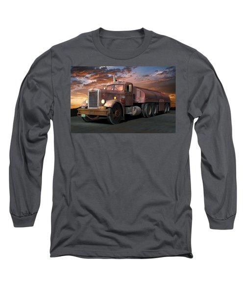 Duel Truck With Trailer Long Sleeve T-Shirt by Stuart Swartz