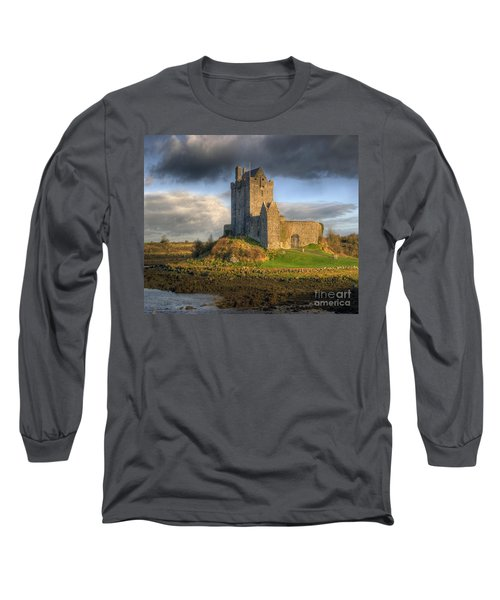 Dunguaire Castle With Dramatic Sky Kinvara Galway Ireland Long Sleeve T-Shirt by Juli Scalzi