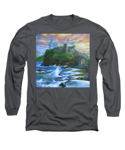 Dunscaith Castle - Shadows Of The Past Long Sleeve T-Shirt by Samantha Geernaert