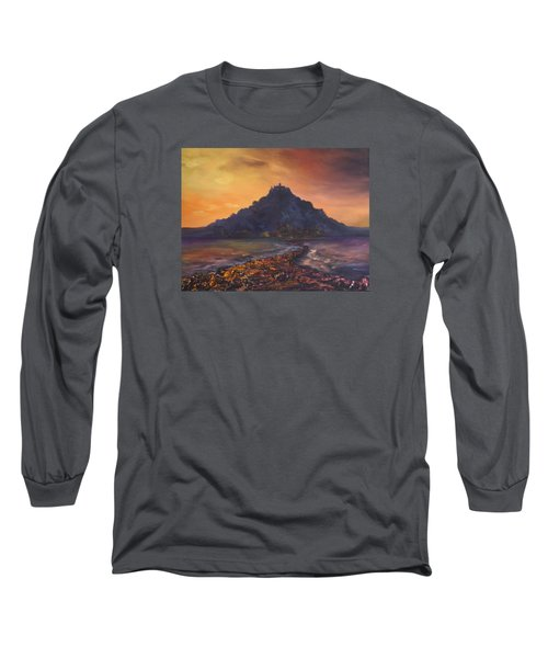 Long Sleeve T-Shirt featuring the painting Dusk Over St Michaels Mount Cornwall by Jean Walker