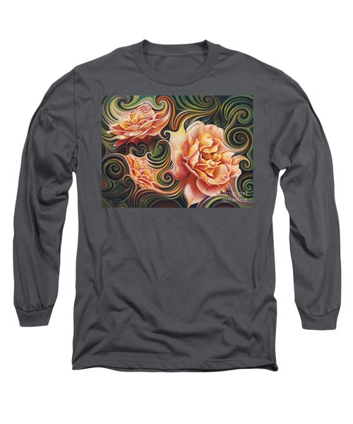 Dynamic Floral V  Roses Long Sleeve T-Shirt