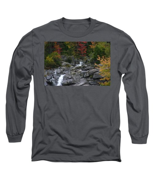 Long Sleeve T-Shirt featuring the photograph Early Fall Waterfall by Denyse Duhaime