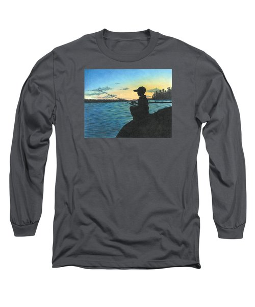 Long Sleeve T-Shirt featuring the drawing East Pond by Troy Levesque
