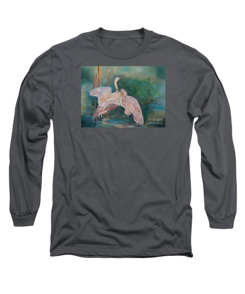 Egrets In The Mist Long Sleeve T-Shirt by Jenny Lee