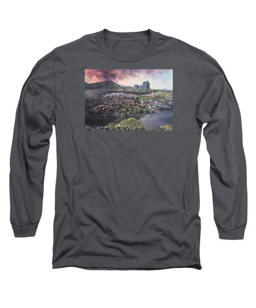 Long Sleeve T-Shirt featuring the painting Eilean Donan Castle Scotland by Jean Walker