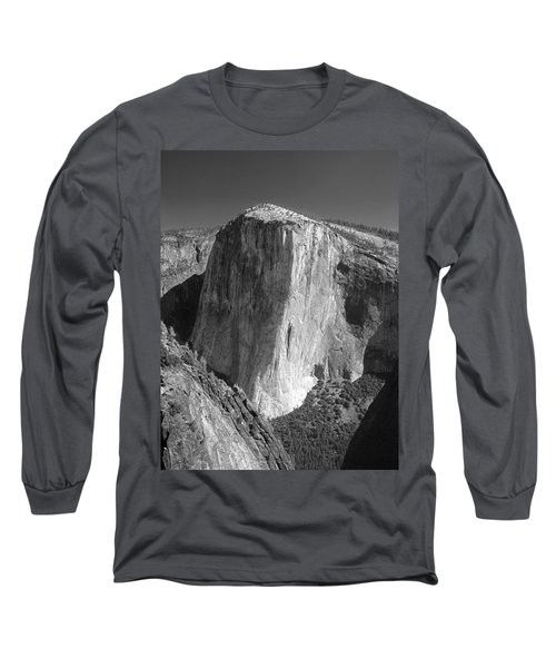 106663-el Capitan From Higher Cathedral Spire, Bw Long Sleeve T-Shirt