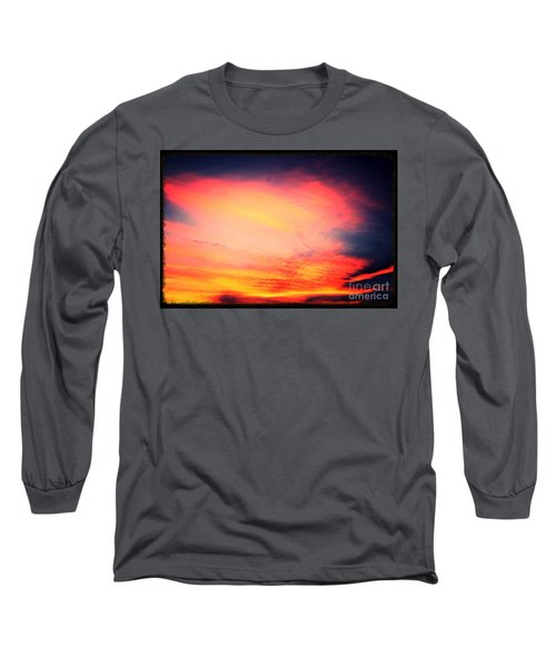 Electric Angel Playing A Harp In The Sky  Long Sleeve T-Shirt by Kimberlee Baxter