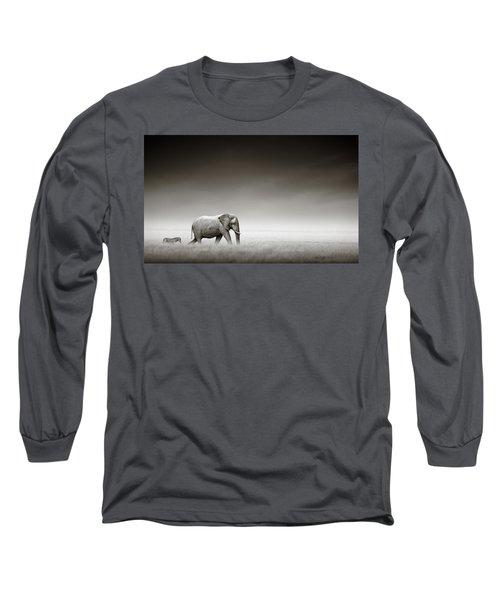 Elephant With Zebra Long Sleeve T-Shirt