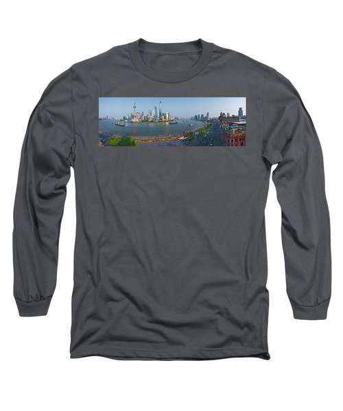 Elevated View Of Skylines, Oriental Long Sleeve T-Shirt
