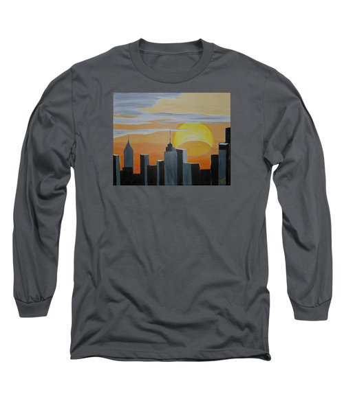 Long Sleeve T-Shirt featuring the painting Elipse At Sunrise by Donna Blossom