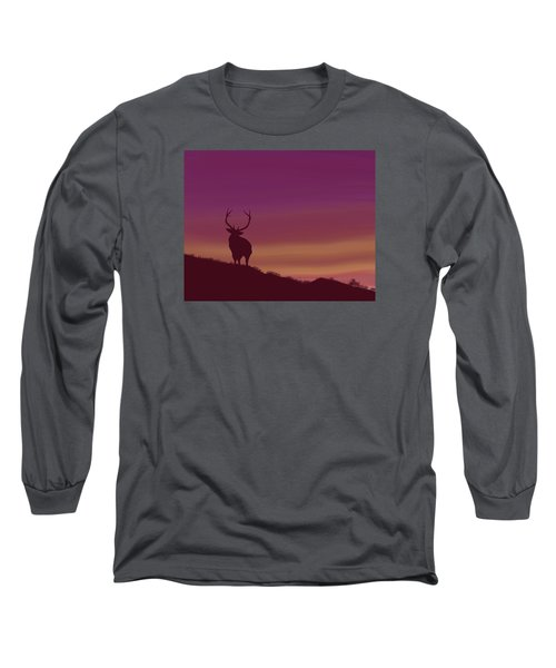 Long Sleeve T-Shirt featuring the digital art Elk At Dusk by Terry Frederick