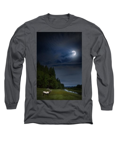 Elk Under A Full Moon Long Sleeve T-Shirt by Belinda Greb