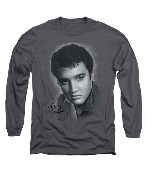 Elvis - Grey Portrait Long Sleeve T-Shirt