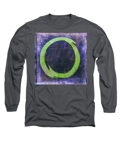 Enso No. 108 Green On Purple Long Sleeve T-Shirt