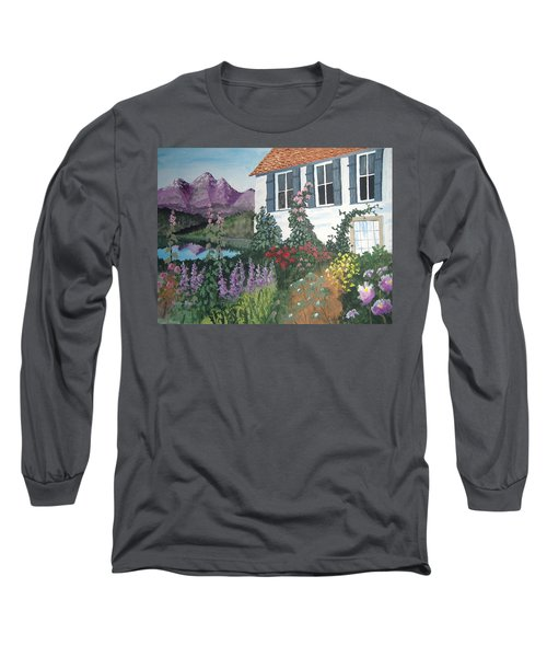 Long Sleeve T-Shirt featuring the painting European Flower Garden by Norm Starks
