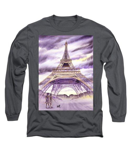 Evening In Paris A Walk To The Eiffel Tower Long Sleeve T-Shirt