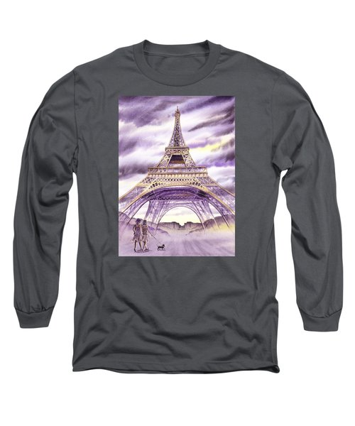 Evening In Paris A Walk To The Eiffel Tower Long Sleeve T-Shirt