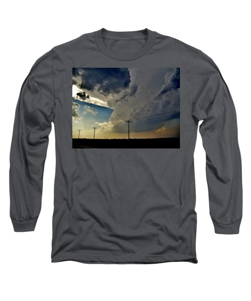 Explosive Texas Supercell Long Sleeve T-Shirt by Ed Sweeney