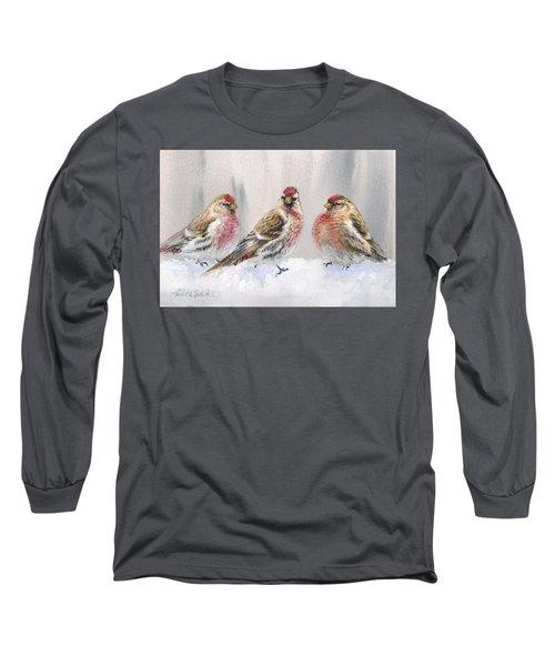 Snowy Birds - Eyeing The Feeder 2 Alaskan Redpolls In Winter Scene Long Sleeve T-Shirt by Karen Whitworth