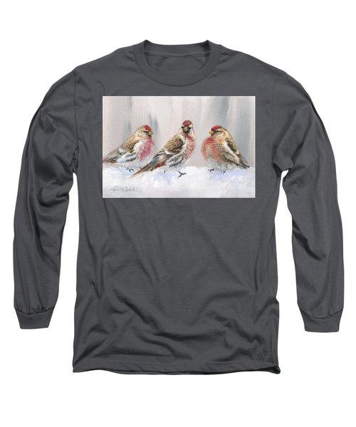 Snowy Birds - Eyeing The Feeder 2 Alaskan Redpolls In Winter Scene Long Sleeve T-Shirt