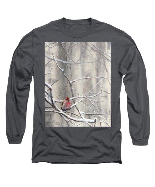 Eyeing The Feeder Alaskan Redpoll In Winter Long Sleeve T-Shirt by Karen Whitworth