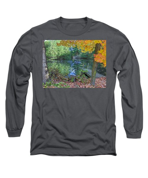 Long Sleeve T-Shirt featuring the photograph Fall Scene By Pond by Brenda Brown