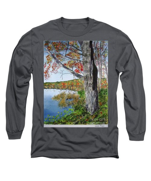 Long Sleeve T-Shirt featuring the painting Fall Tree by Carol Flagg