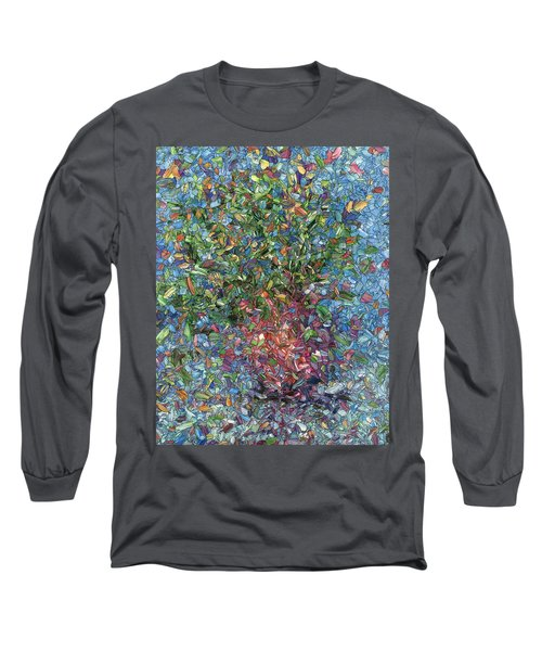 Long Sleeve T-Shirt featuring the painting Falling Flowers by James W Johnson