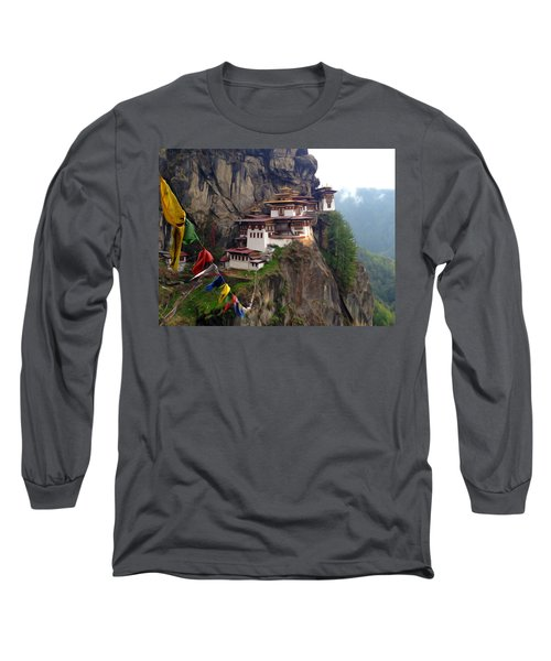 Famous Tigers Nest Monastery Of Bhutan 10 Long Sleeve T-Shirt