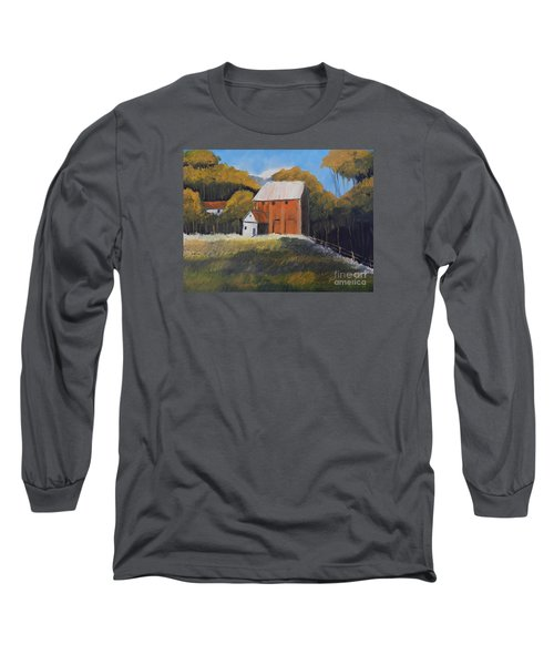 Long Sleeve T-Shirt featuring the painting Farm With Red Barn by Pamela  Meredith
