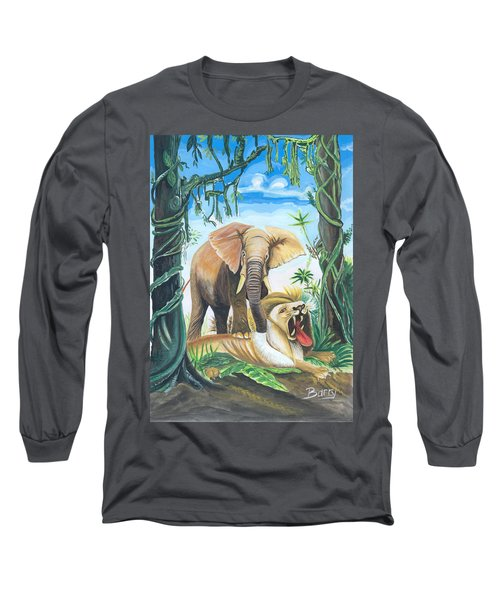 Long Sleeve T-Shirt featuring the painting Faune D'afrique Centrale 01 by Emmanuel Baliyanga