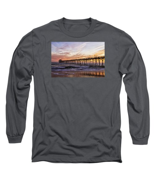 Long Sleeve T-Shirt featuring the photograph Febuary Sunset On Atlantic Beach by Bob Decker