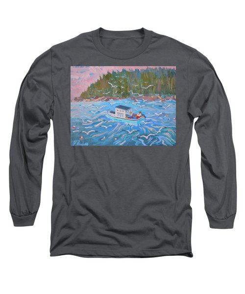 Long Sleeve T-Shirt featuring the painting Feeding The Flock by Francine Frank