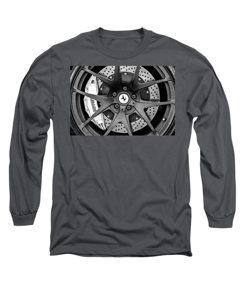 Ferrari Wheel Emblem - Brake Emblem -0430bw Long Sleeve T-Shirt