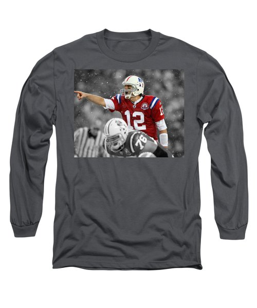 Field General Tom Brady  Long Sleeve T-Shirt by Brian Reaves